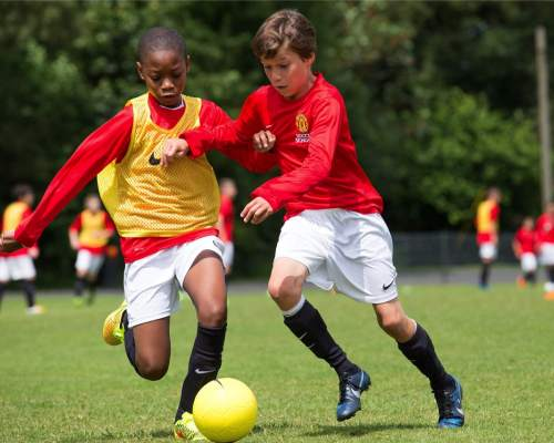 Football training at the Manchester United Soccer School