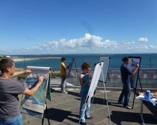 Art class at the sea in southern England